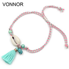 Anklets for Women Girls Foot Jewelry Holiday Beach Barefoot Sandals Bracelet on the leg Ankle strap Bohemian Shell Tassel Anklet(China)