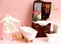 G05 X4408 children baby gift Toy 1:12 Dollhouse mini Furniture Miniature rement white bathroom set