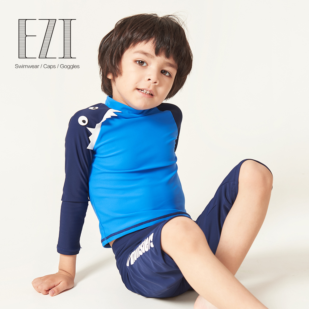 July Sand Kids Boy Surfing Cloth With Round Neck Colour Block Two Piece Suit Swimwear 18B001
