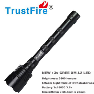 Image 2 - Trustfire 3L2 ไฟฉาย LED 3800 Lumens โคมไฟแบบพกพา 5 โหมดไฟฉายยุทธวิธีการล่าสัตว์ไฟหน้าโดย 18650 แบตเตอรี่ (ไม่รวม)