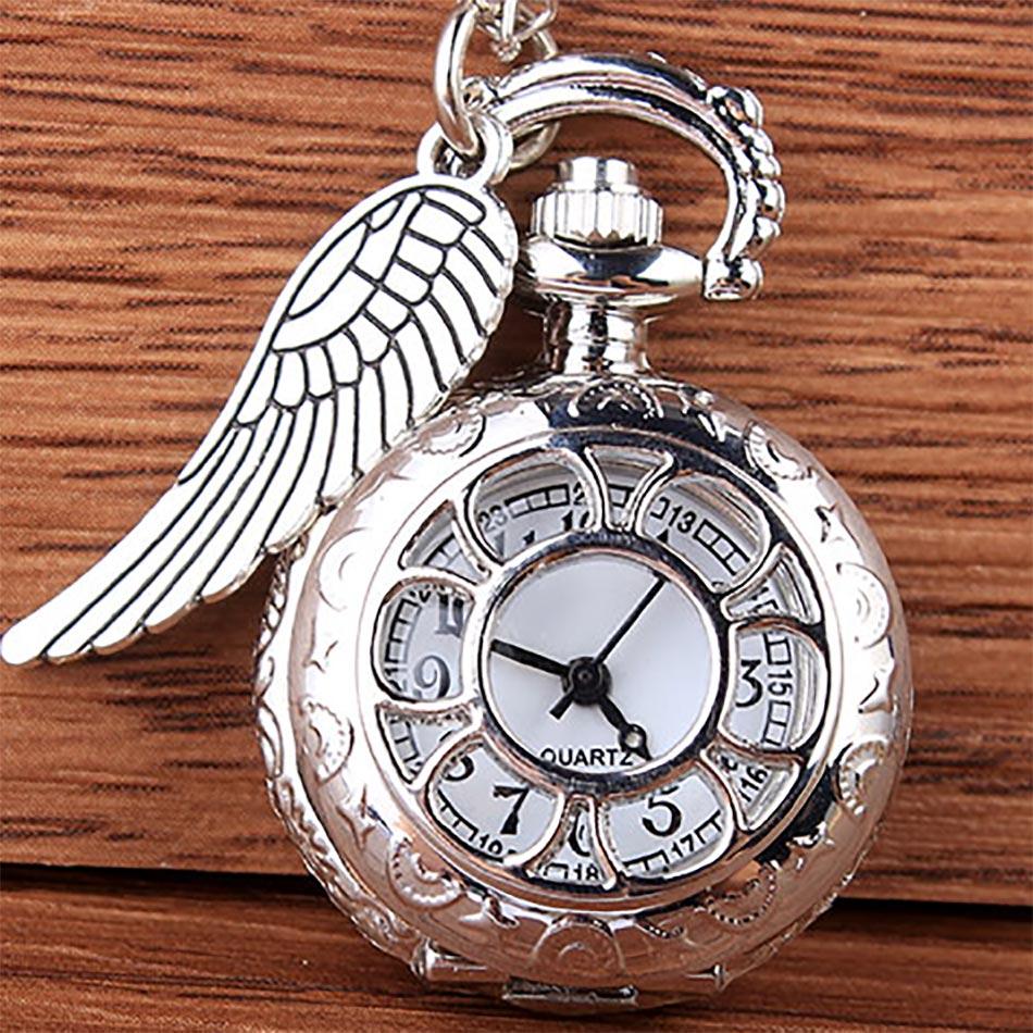 Vintage Silver Hollow Quartz Pocket Watch Necklace Pendant With Chain Women Men Gift