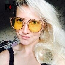 Golden Hollow Out Metal Frame Women Cateye Sunglasses