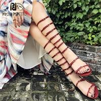 Prova Perfetto 2018 женские босоножки гладиаторы Сапоги и ботинки для девочек Обувь Туфли с ремешком и пряжкой летние туфли на плоской подошве в рим