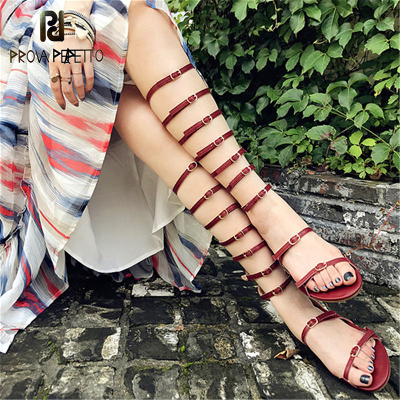 Prova Perfetto 2018 Woman Gladiator Boots Shoes Buckle Strap Rome Flat Sandals Women Summer Shoe Bohemia Knee High Sandals Boots недорого
