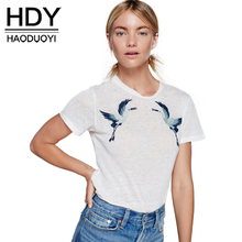 HDY Haoduoyi Summer Fashion Embroidery Basci Women Short Sleeve Female Pullover Tops Brief Style White O-neck Casual T-shirt