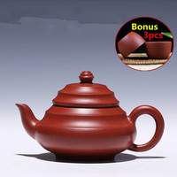 2017 Handmade Purple Grit Tea Pot Kettle Yixing Purple Clay Teapots Chinese ZiSha Tea Pot Set Bonus 3 Tea Cups with Gift Box