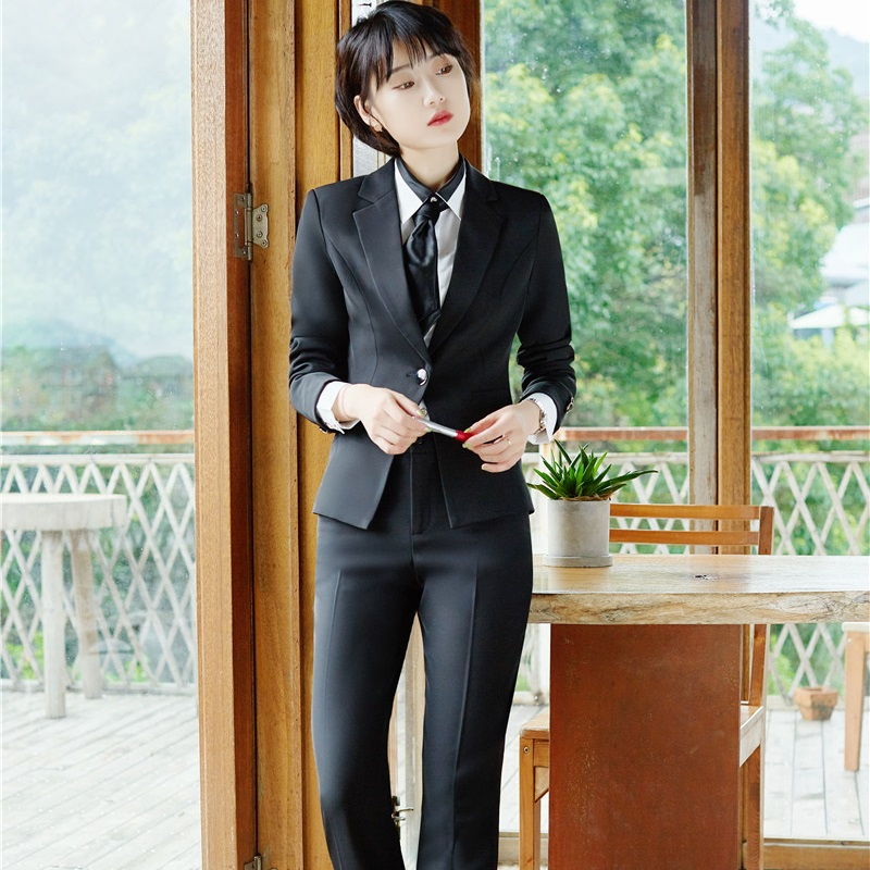 Pantsuits Pantalon Ol black Blue Grande Avec Femmes Blazers Costumes Styles Pièces Taille Automne Dark Manteau 3 Vestes Femme Veste Bleu Hiver dwq58Rd