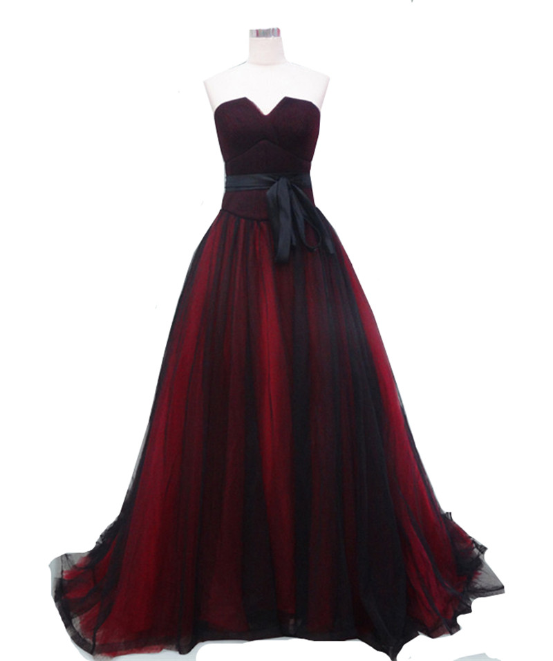 Red And Black Wedding Dresses: MDBRIDAL Dark Red Black Evening Ball Gowns Strapless