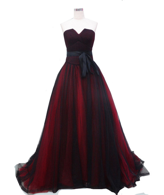 MDBRIDAL Dark Red Black Evening Ball Gowns Strapless Corset Long ...