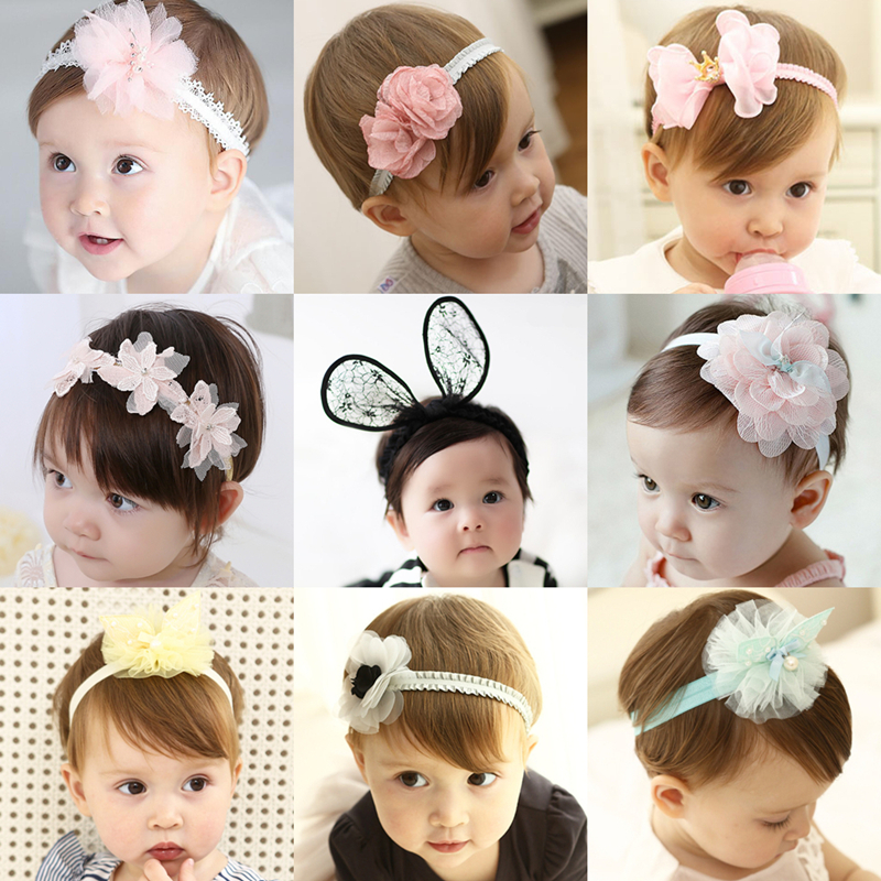 MeryYuer 31 Colors! New Fashion Cute Lace Flowers Rhinestone Girls Headband Hairbands Girls Headwear Kids Hair Accessories