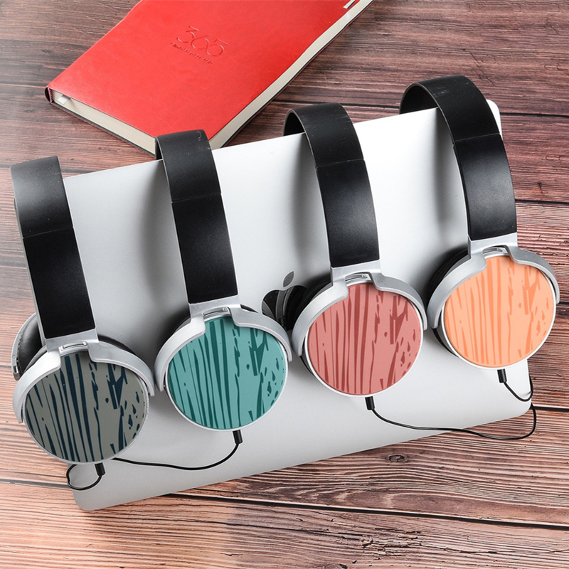 Fashion Headband Stereo Headphones w/ Microphone Portable Wired Wood Grain Headset for Girls Mobile Phone iPhone Samsung Gift