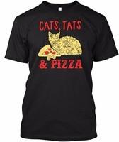 2017 Nieuwe Collectie Heren T-shirt Katten Tattoos en Pizza Fashion 100% katoen O-hals Tshirts Korte T-shirt Mannen