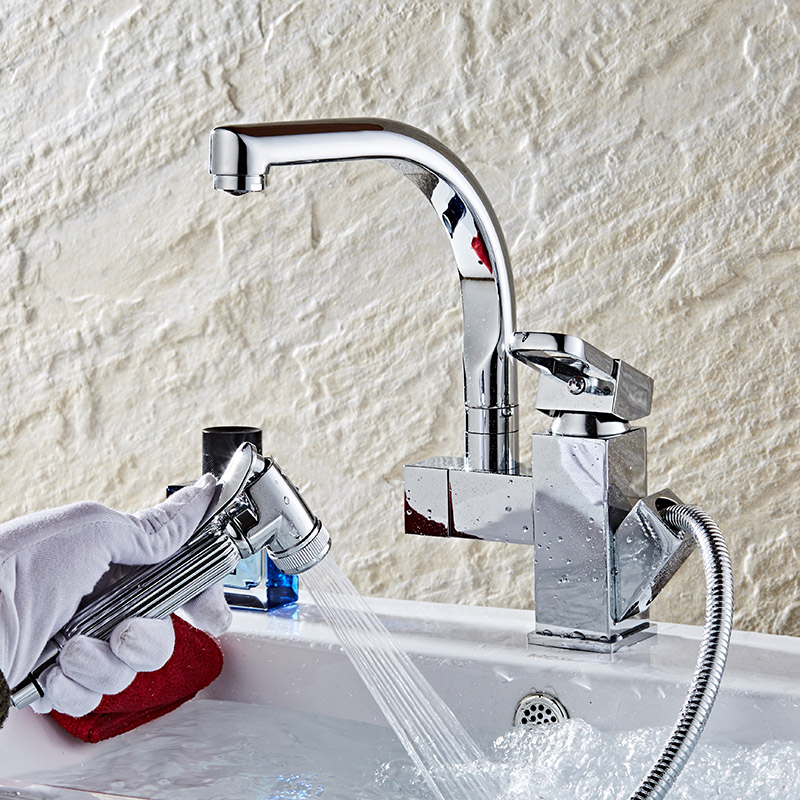 New arrivals kitchen faucet with pull out hand shower head brass ...