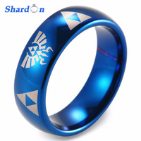 SHARDON 8mm Men's Dome Blue Tungsten Carbide Ring comfort fit with lasered Zelda design Wedding Ring for Men engagement jewelry