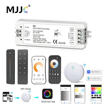 12V LED Controller CCT 2CH RF Wireless Remote 2.4G 10A 24V DC Smart Wifi Dimmer for Dual White Single Color Strip Light