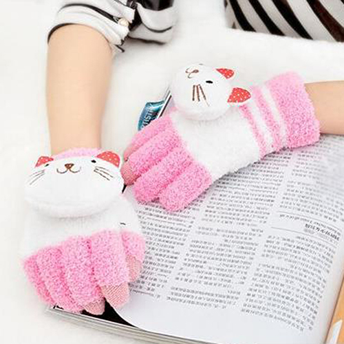 Kid Boy Girl Winter Warm Cute Panda Cat Animal Solid Color Touch Screen Gloves
