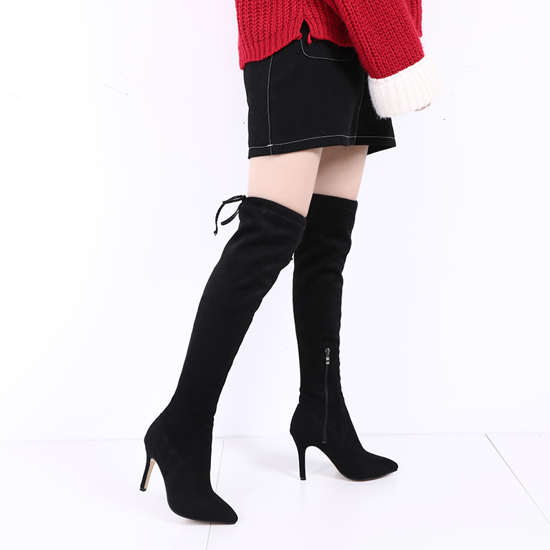 2017 autumn and winter new pointed high heel knee long boots female 25--39 yards