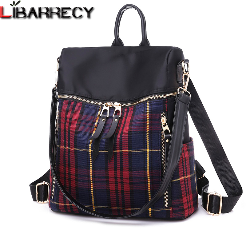 4ac3454b62 Fashion Plaid Pattern Nylon Backpack Female Simple Large Capacity School Bag  for Girls Waterproof Shoulder Bags for Women 2018