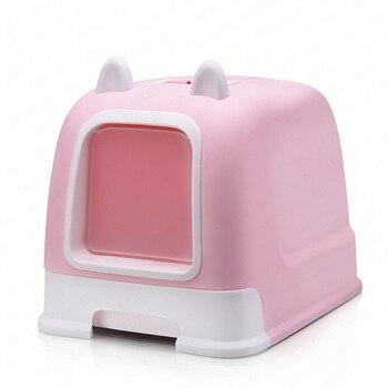 Полностью закрытый наполнитель для кошачьего туалета коробка дезодорант анти-всплеск большой с ящиком кошачьи уши стиль кошка поставки ...