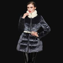 90% white duck down 2016 The new spot down jacket thicker long great quality luxury gold velvet rabbit fur collar coat w845