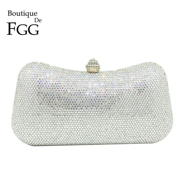 Boutique De FGG Socialite Classic Design Women Silver Crystal Bag Evening  Clutch Purse Wedding Party Cocktail Diamond Handbag c97e7cd9a87ec