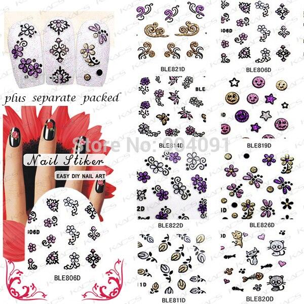 WHOLESALE  50SHEET/LOT 3D FlowerNail Art Design Glitter Nail Sticker for nail art ,8 different design KADS NAIL ART
