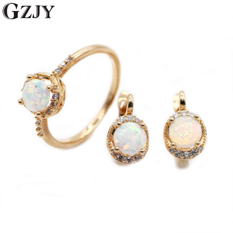 Gzjy красивый круглый комплект ювелирных изделий Белый огненный опал Champagne Gold Цвет Серьги набор колец для Для женщин Свадебные аксессуары
