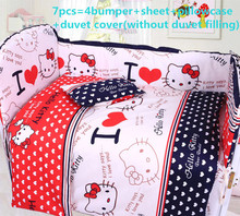 Promotion! 6/7PCS Cartoon Baby Bedding Sets 100% Cotton Baby Bedclothes Cartoon Crib Bedding Set ,120*60/120*70cm