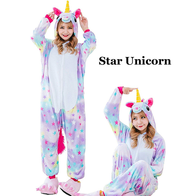 85a834bc6d71 Winter Unisex Unicorn Pajamas Kigurumi Animal Star Pyjamas women Adult  onesies Cosplay Flannel stitch Onesie Sleepwear
