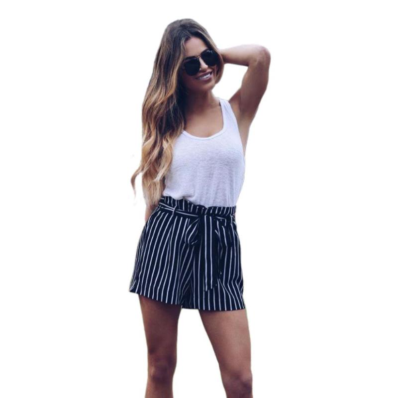2018 New Arrival Women Fashion Summer Striped Shorts Cotton Casual Elastic High Waist Pockets Shorts Loose Clothing Blue