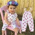 Niño recién nacido de los Bebés Del Bowknot Del Mameluco Mono Del Equipo Sunsuit lindo sling impreso corazón niñas mamelucos 0-24 meses