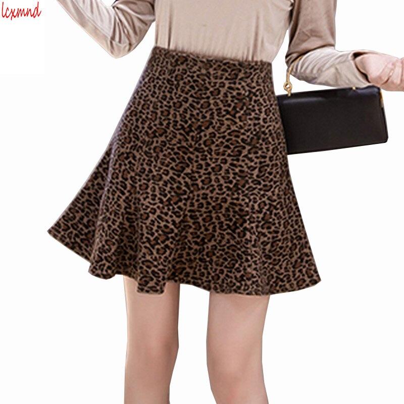 2019 New Autumn And Winter Woolen Leopard Fishtail Skirt High Waist Mini Women's Skirt Package Hip Faldas Mujer Moda Ladies Saia