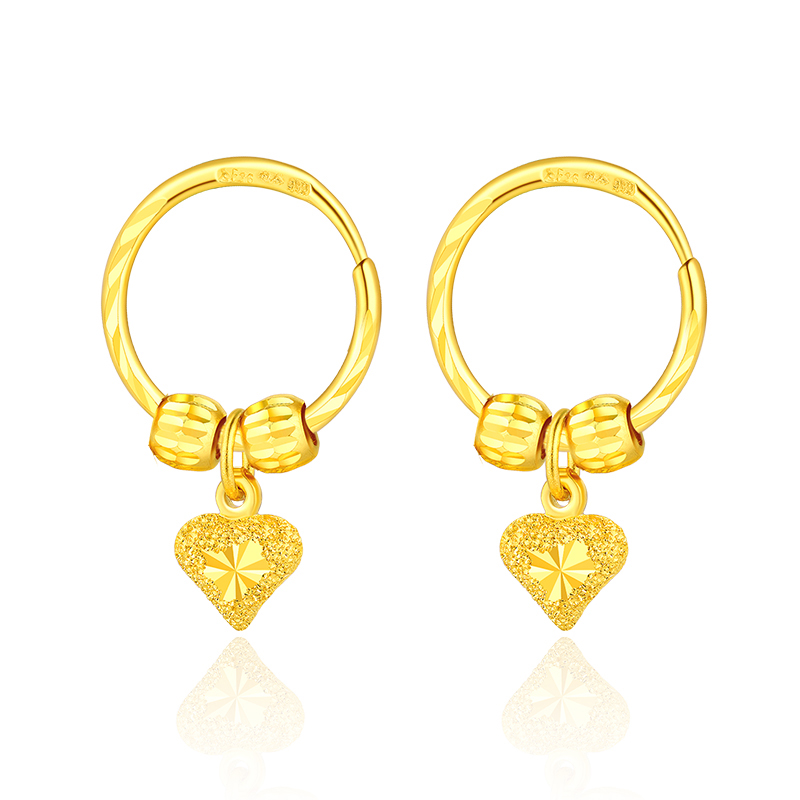 New 999 Real 24k Yellow Gold Heart Hoop Earrings 4.99g