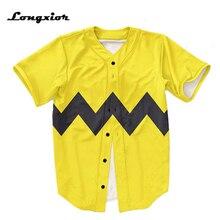 Amarelo Botões Dos Homens Homme Baseball Jersey EUA tamanho 3D tarja preta  Camisa Das Camisas Das 3bbc00cf5b85d