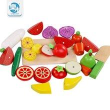 Juguetes de madera Para Niños de simulación De Corte de frutas y verduras cocina juguetes para niños educación Montessori juguetes De Madera regalos