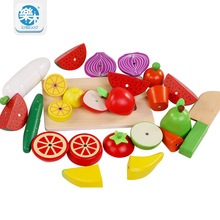 Kids toys The simulation of fruits and vegetables kitchen toys toy for children Montessori education Wooden toys Free shipping supermarket cart simulation shopping trolley with fruits and vegetables toys for kids
