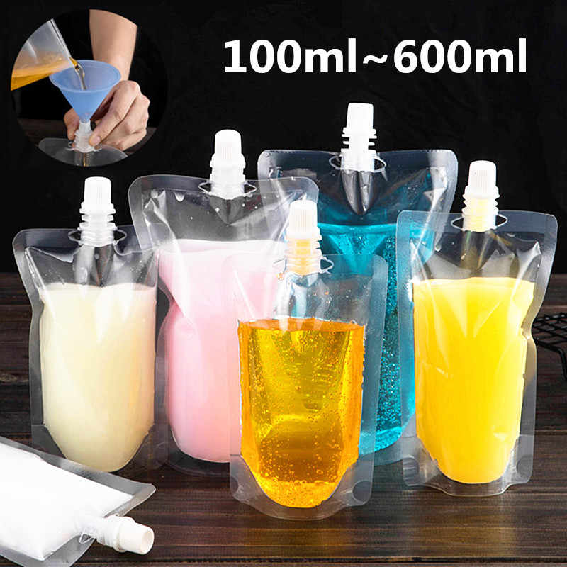 100pcs 100ml~600ml Transparent Stand up Spout Beverage Bag Plastic Spout Storage Pouch for Party Wedding Juice Beer with Funnels