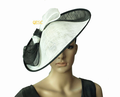Black white two tone X Large Sinamay Hat saucer fascinator.diameter 39cm. 056a8d1c710