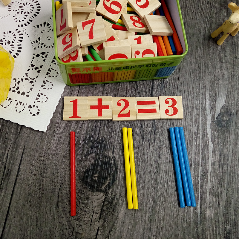 Arithmetic Toys for Kids Count the Stick Wooden Toys Iron Box Package Mathematical Operation 3-4-5-6-7-8 Years