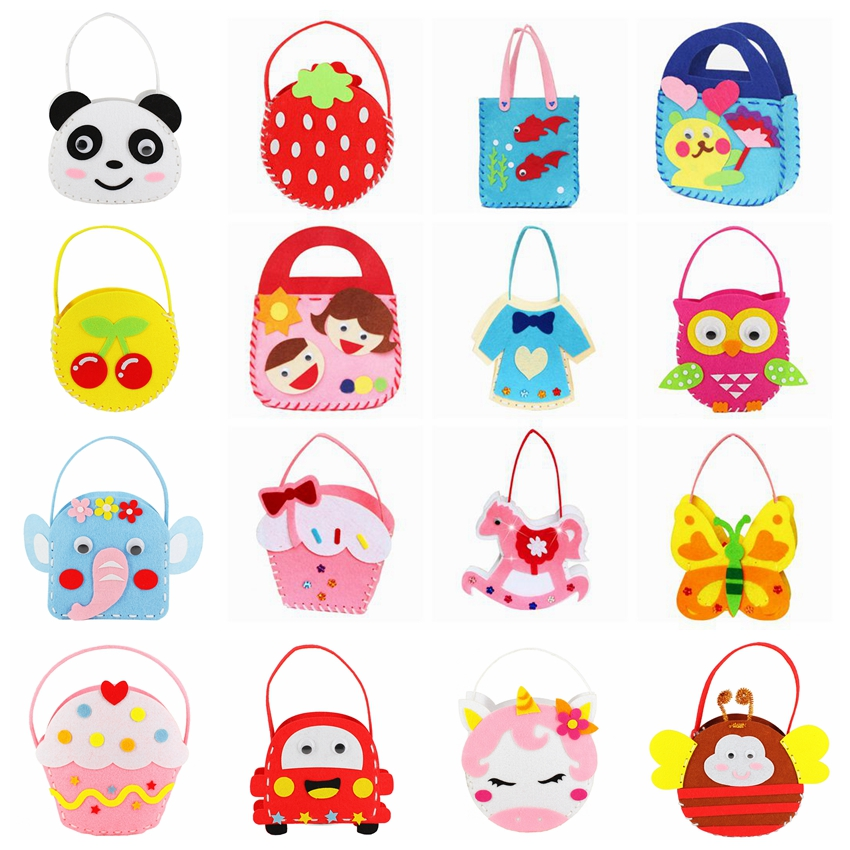 Craft Kits For Children Toy Non-woven Cloth Bag DIY Handmade Bags Children Dindergarten Sewing Projects Fabric Kit DIY Kids Toys