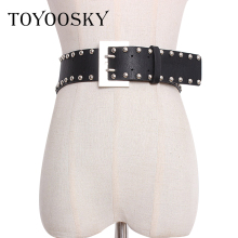 TOYOOSKY 2019 Spring Fashion Women Belts with Rivet Decoration Design Double Pin Square Buckle Wide Waist Belt For Lady of Night