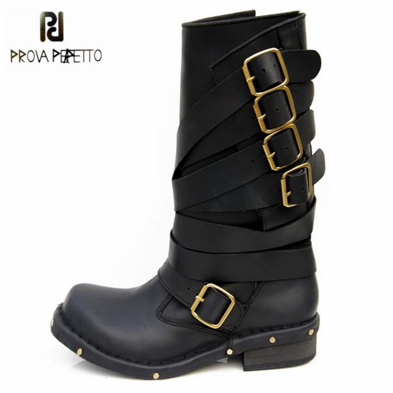 Prova Perfetto Black Punk Style Women Genuine Leather Mid-Calf Boots Straps Platform Rubber Botas Mujer Female High Knight BootProva Perfetto Black Punk Style Women Genuine Leather Mid-Calf Boots Straps Platform Rubber Botas Mujer Female High Knight Boot