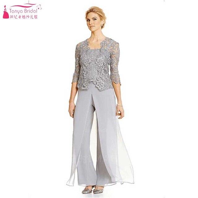 Elegante Madre de Las Novias Vestido de Gasa suave Pantalones Con Chaqueta de Encaje Madre Del Vestido Formal vestido de madrina Z049