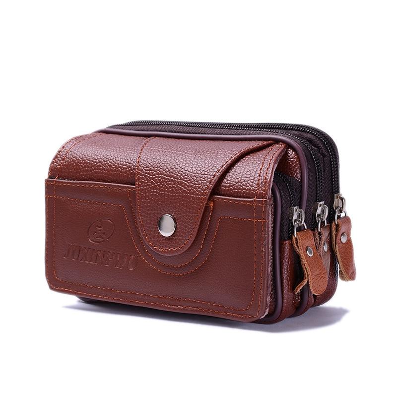 BISI GORO  2019 PU Vintage Waist Pack Multi-function Phone Coin Men Waist Bag Vintage On The Belt Outdoor Small Wallet Men Women
