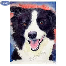 Kufwkey diamond Embroidery Border collie dog,diamond Pattern 5D DIY paintings 3D Cross stitch crystal mosaic stickers,home decor(China)