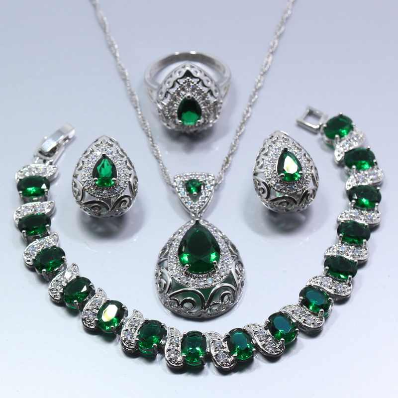 Water Drop 4PCS Jewelry Set 925 Sterling Silver Green Zircon Earrings Ring Necklace Pendant Bracelet For Women Gift Box Z119