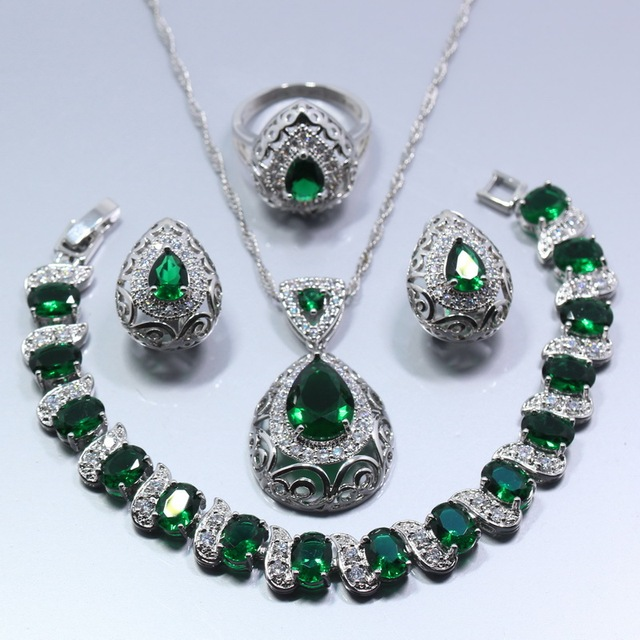 טיפת מים 4 PCS תכשיטי סט 925 סטרלינג כסף ירוק זירקון עגילי טבעת שרשרת תליון צמיד לנשים אריזת מתנה Z119