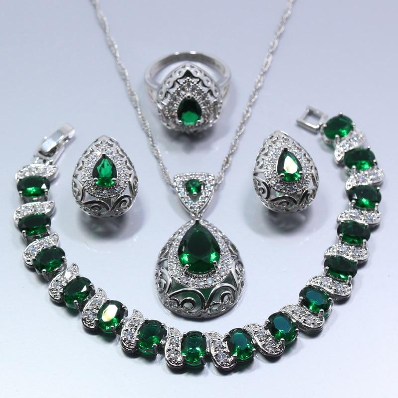 Fashion Jewelry Set Earrings Necklace Bracelet Green & Silver Jewelry & Watches