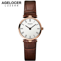 AGELOCER Watch Women Fashion Gold Stainless Steel Ladies Watches Leather Quartz Watch Relogio Feminino Clock Relojes Mujer 2017