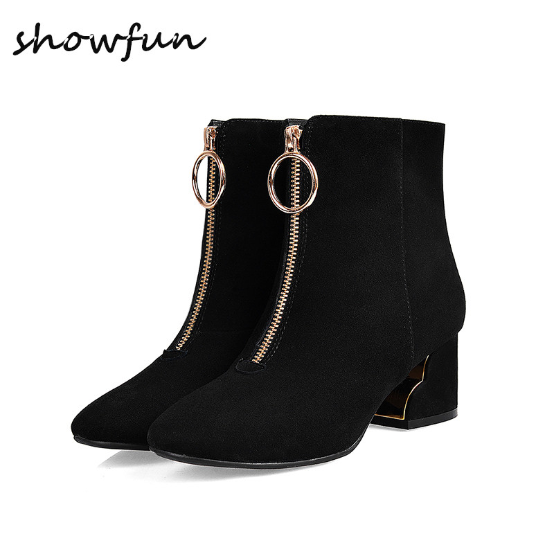 Women's Spring Autumn Front Zip Low Heel Comfortable Ankle Boots Brand Designer Genuine Suede Leather Short Booties Shoes Women